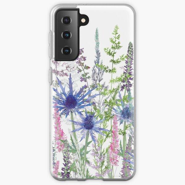 Flower Meadow - Sea Holly, Veronica Flowers & Grasses Samsung Galaxy Soft Case