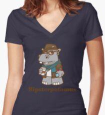 Hipsterpotamus Women's Fitted V-Neck T-Shirt