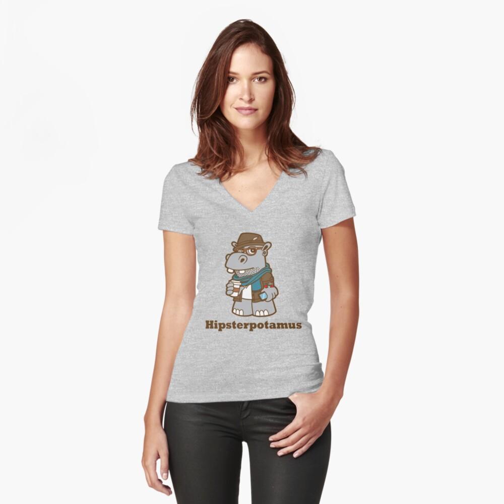 Hipsterpotamus Women's Fitted V-Neck T-Shirt Front
