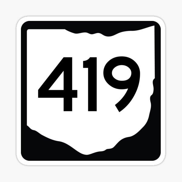 Ohio State Route 419 (Area Code 419) Sticker