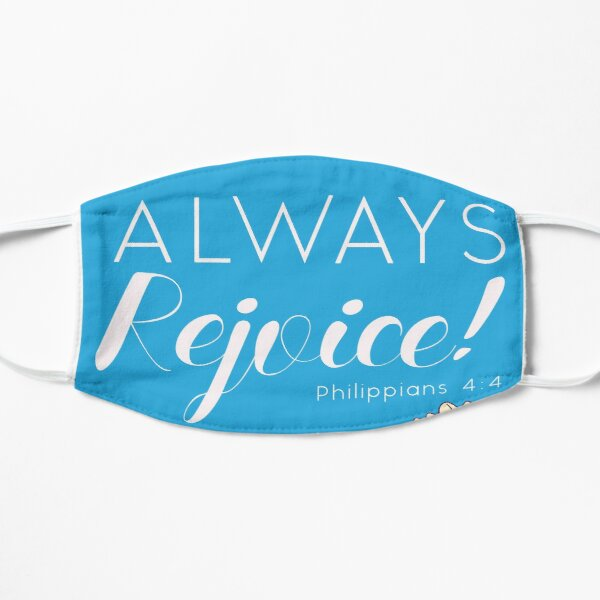 Always Rejoice - Blue Floral with Scripture Mask