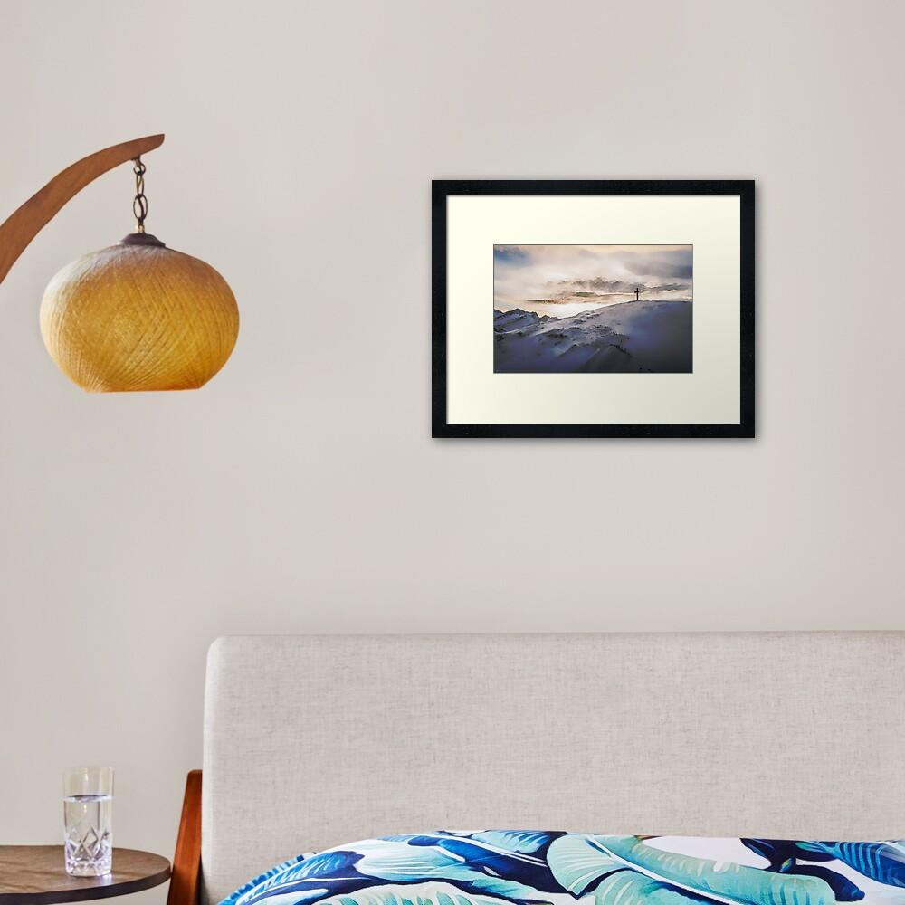 Christian Cross On Mountain Framed Art Print