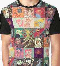 18 Cartoon Protagonists Graphic T-Shirt