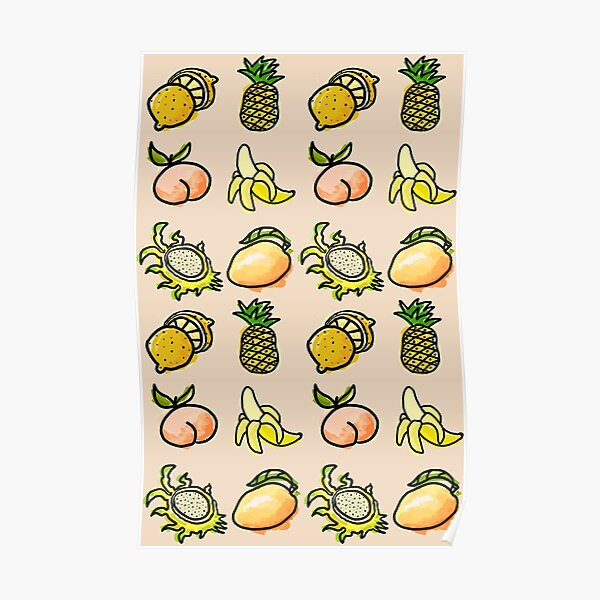 Deconstructed Fruit Bowl Pattern Poster