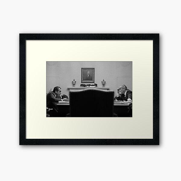 Johnson and Nixon at the White House Framed Art Print