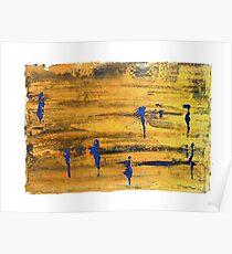 Figures in Landscape Blue & Gold by Lynn Ede Poster