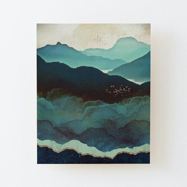 Indigo Mountains Wood Mounted Print