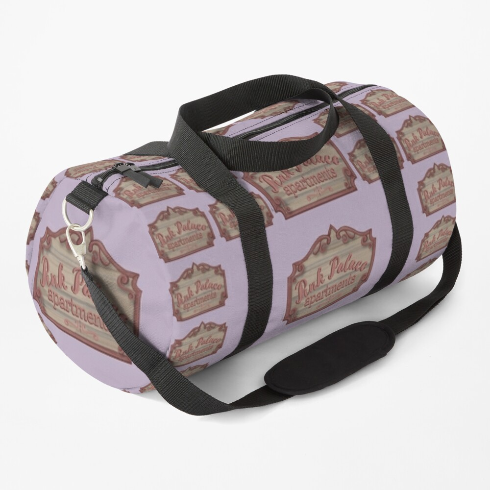 Pink Palace Apartments Wooden Sign Duffle Bag