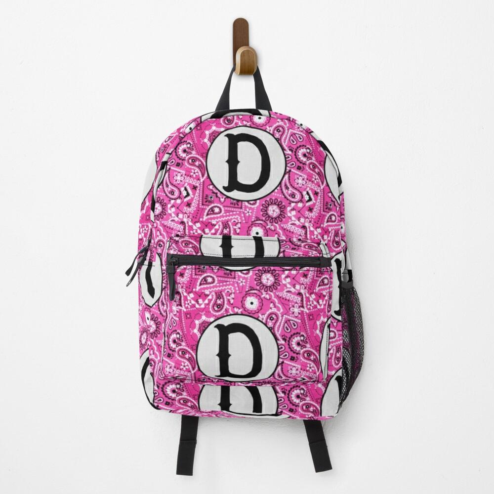 Pink Bandana Monogram Letter D Backpack
