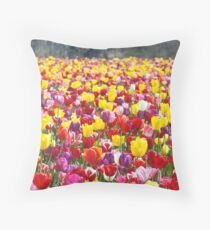 Tulip Flowers art prints Colorful Spring Tulips Festival Throw Pillow