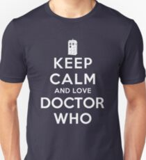 Keep Calm and Love Doctor Who (Dark Colors) Unisex T-Shirt