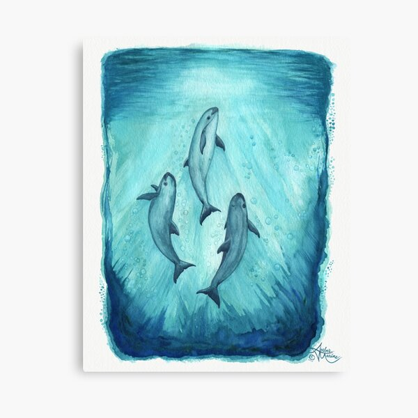 """""""Song of the Vaquita"""" watercolor painting by Amber Marine ~ (Copyright 2015) ~ (Porpoise, Critically Endangered Species)    Canvas Print"""