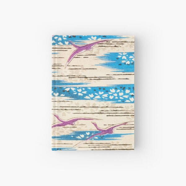 Purple Wild Geese Flying in the Sky Abstract Wild Birds and Floral Drawing Pattern Hardcover Journal