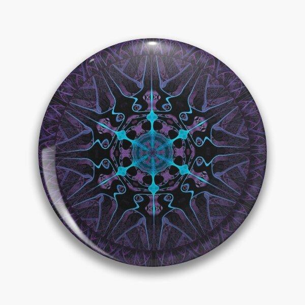 Midnight Snow Mandala in Deep Purple and Turquoise Ice Pin