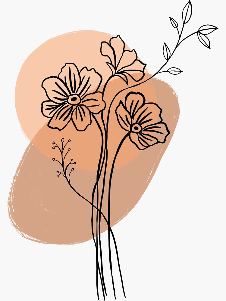 Flower Line Drawing (Orange and Brown) by astridandfynn