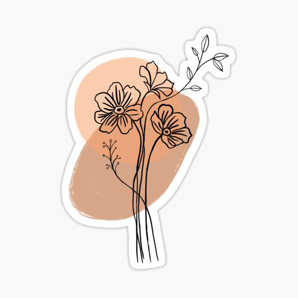 Flower Line Drawing (Orange and Brown) Sticker