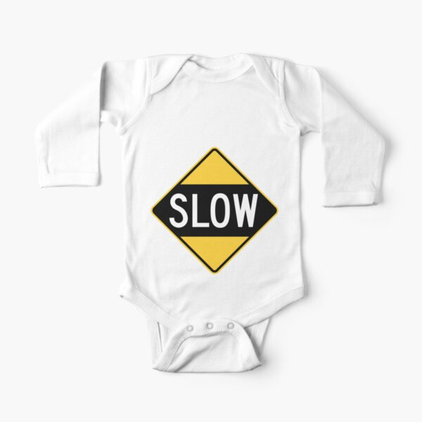 United States Sign - Slow, Old Long Sleeve Baby One-Piece