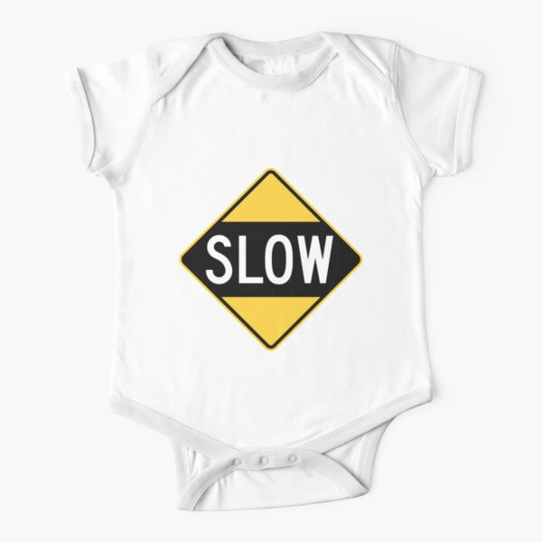 United States Sign - Slow, Old Short Sleeve Baby One-Piece