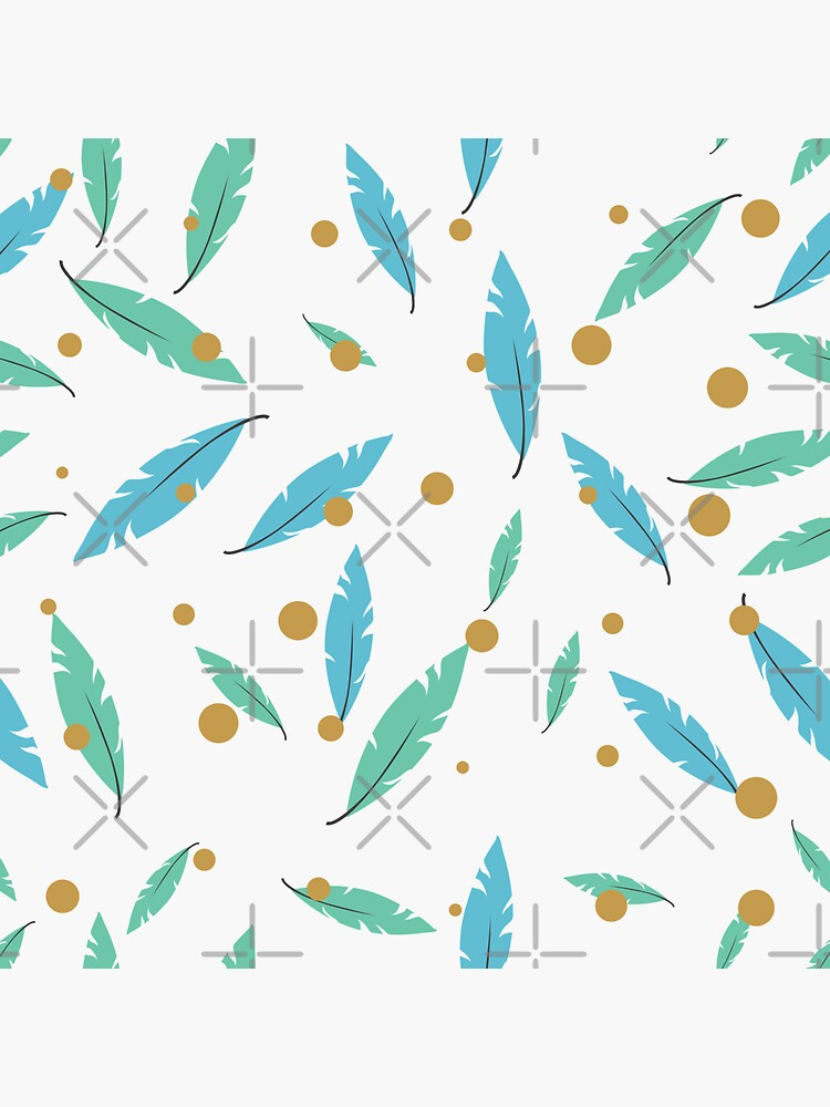 Pastel Blue and Green Feather Leaves by chanzds