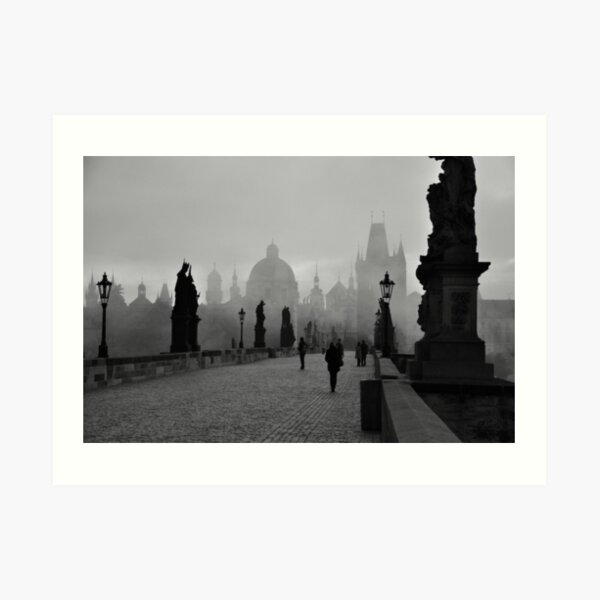 Fog on Charles Bridge, Prague Art Print
