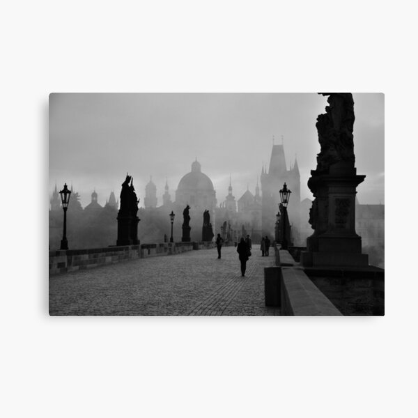 Fog on Charles Bridge, Prague Canvas Print