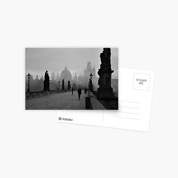 Fog on Charles Bridge, Prague Postcard
