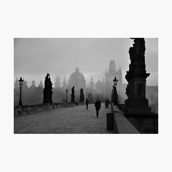 Fog on Charles Bridge, Prague Photographic Print