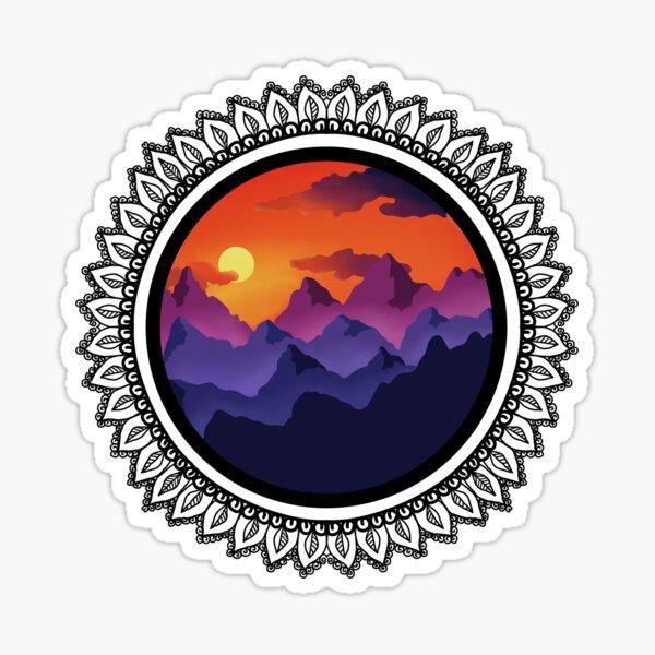 Sunset over mountains with black mandala Sticker