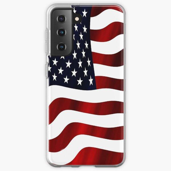 Wavy USA American Flag Samsung Galaxy Soft Case