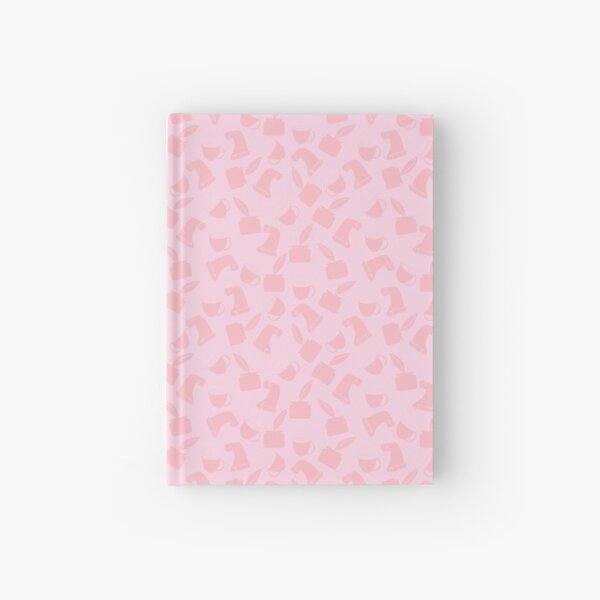 Ink and Quill Writer pattern Pink + Pink bg Hardcover Journal