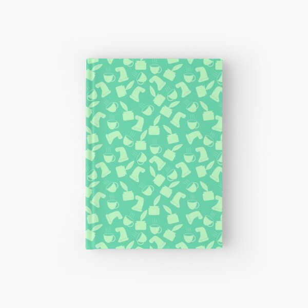 Ink and Quill Writer pattern Green bg Hardcover Journal