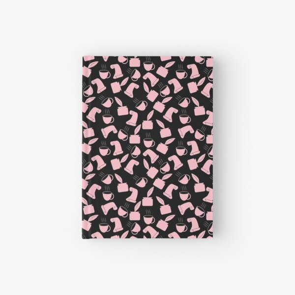 Ink and Quill Writer pattern Pink Black bg Hardcover Journal