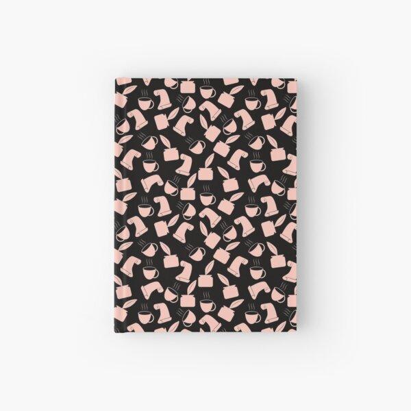 Ink and Quill Writer pattern Orange Black BG Hardcover Journal