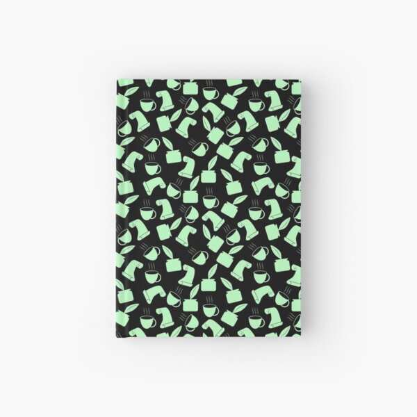Ink and Quill Writer pattern Green Black Bg Hardcover Journal