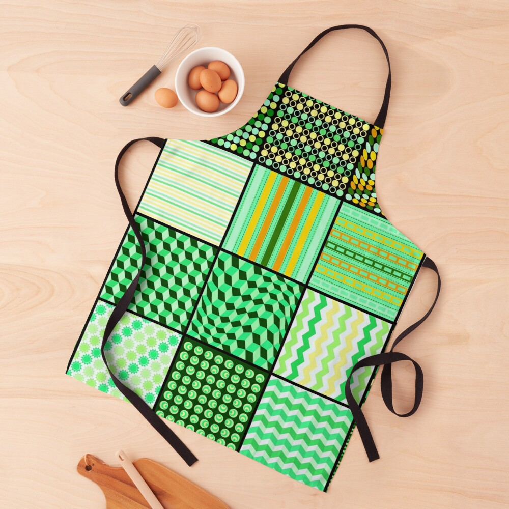 Funky Eclectic Bright Green Patchwork Bohemian Apron