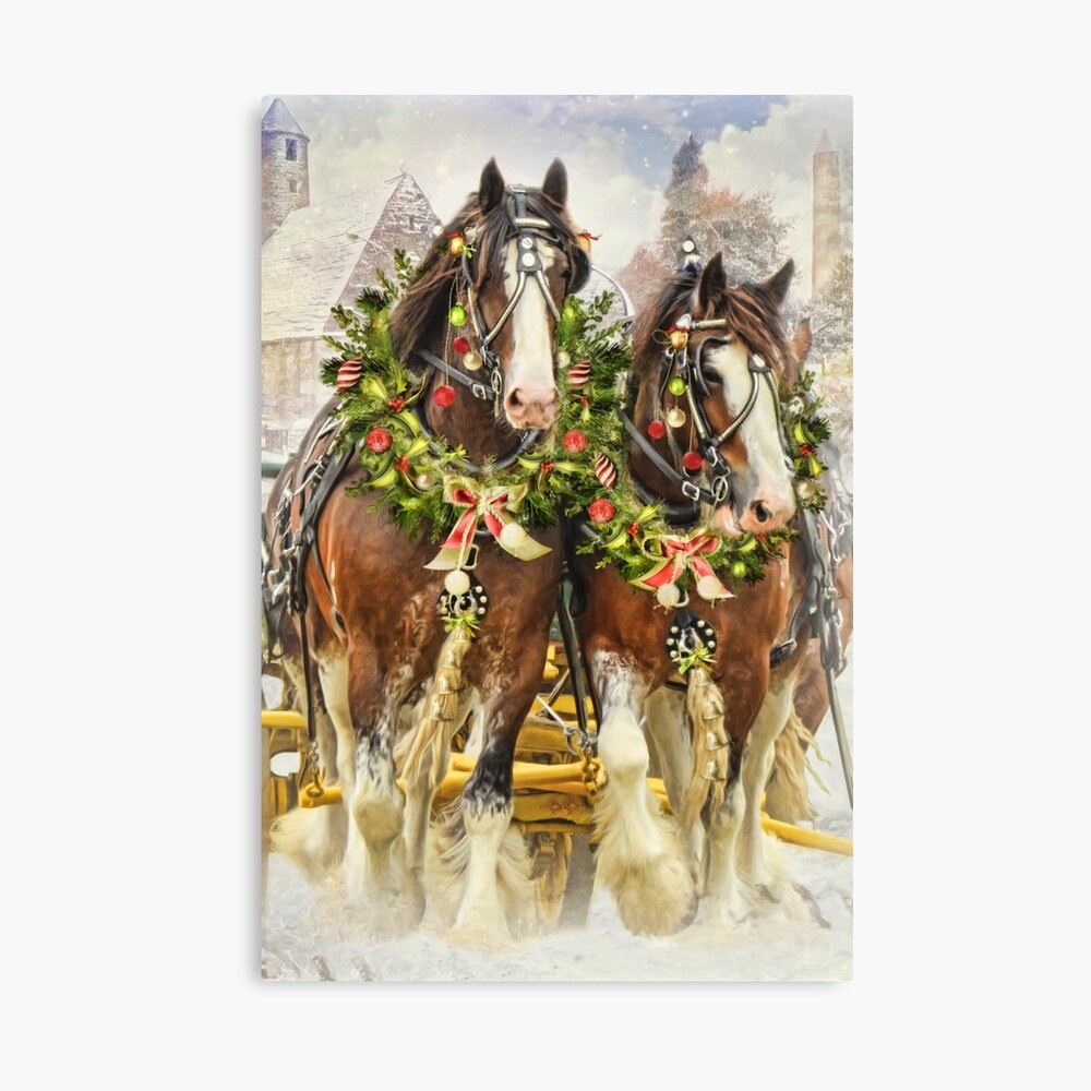 Christmas Clydesdales Throw Pillow By Picsbyt Redbubble