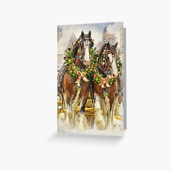 Christmas Clydesdales Greeting Card