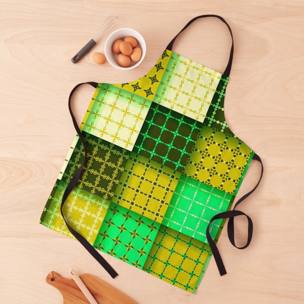 Retro Lime Green Abstract Geometric Color Block Pattern Apron