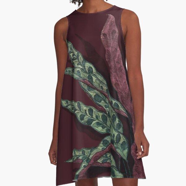 Calathea lancifolia Watercolor A-Line Dress