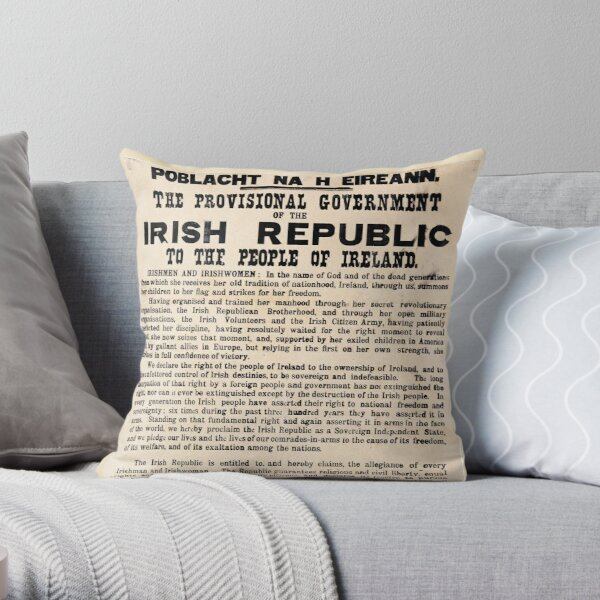 Irish Proclamation of Independence (High Resolution)  Throw Pillow