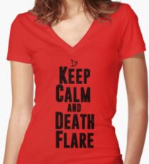 Keep Calm and Death Flare Women's Fitted V-Neck T-Shirt