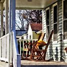 Wooden Rocking Chairs on Porch by Susan Savad