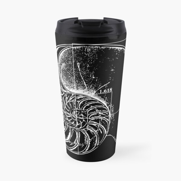 Fibonacci on a nautilus shell Travel Mug