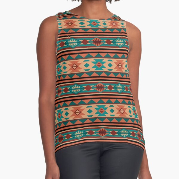 Southwestern Design Turquoise Beige Terracotta Sleeveless Top