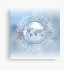 Snow globe with map Canvas Print