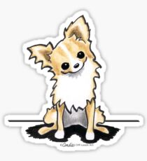 Longhaired Fawn/White Chihuahua Sit Pretty Sticker