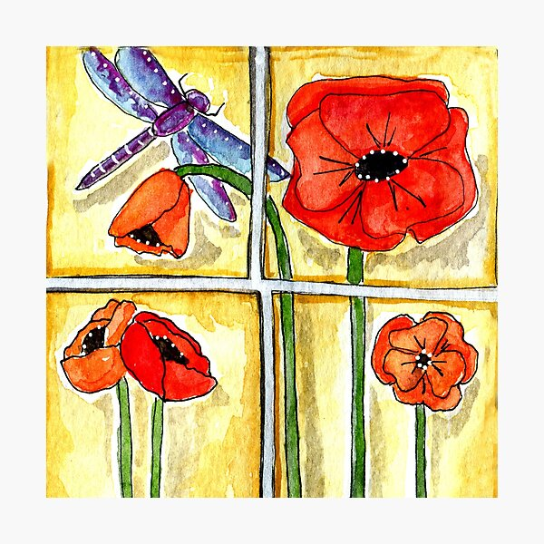 Dragonfly with Poppies Photographic Print