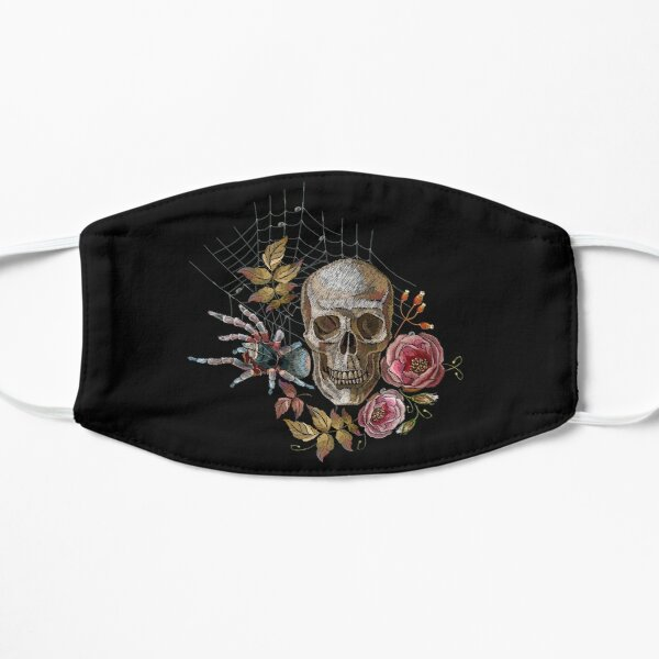 Embroidery human skull, roses and spider Mask