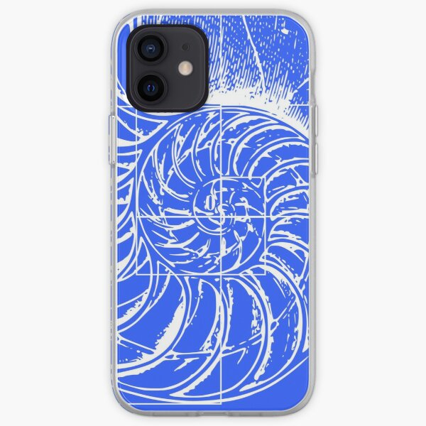 Fibonacci on a nautilus shell (blue) iPhone Soft Case