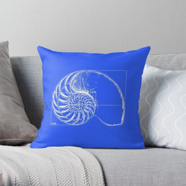 Fibonacci on a nautilus shell (blue) Throw Pillow